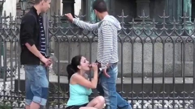 Hot public teen threesome sex by a famous statue on the street Part 2