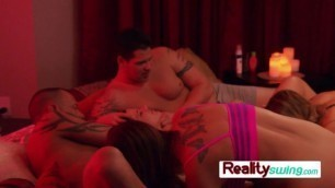 Horny couple celebrate husbands birthday with a blowjob bash at swing house