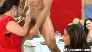 DancingBear Celebrate! Brunette swallows black cock