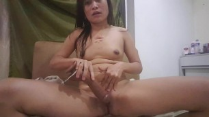 Asian wife get squirting orgasm on monster black vibrator 1