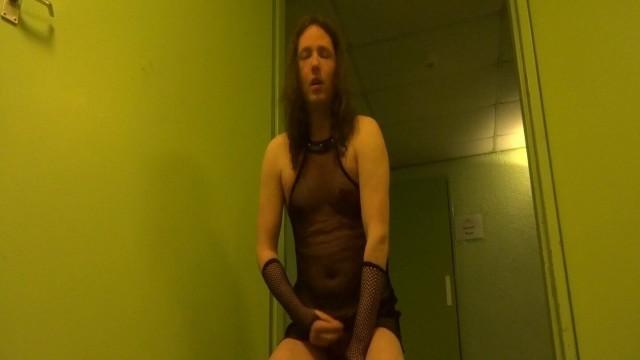 Sissy piss slut licks up pee and cum