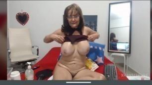 Granny Cindy, big tits, hairy pussy, masturbation, sweat