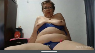 Latin granny in lingerie shows pussy and masturbation and tits